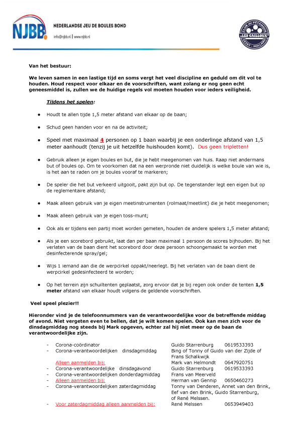 15-10-2020: LES CAILLOUX BLIJFT OPEN! VERNIEUWD PROTOCOL EN RABO CLUBACTIE